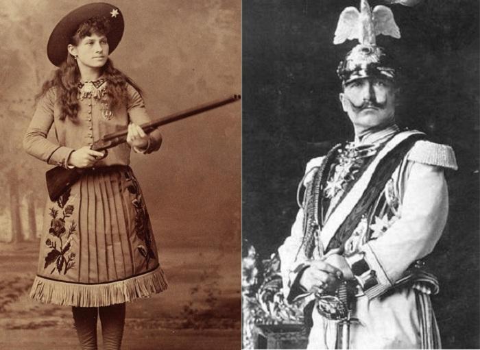 Слева: женщина-стрелок Энни Оукли, справа: кайзер Вильгельм II.
